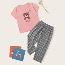 Kleinkind Maedchen Schlafanzug Set mit Karikatur & Karo Muster