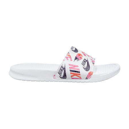 Nike Womens Benassi JDI Print Slide Sandals, 7 Medium, White