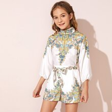 Girls Button Front Tribal Print Top & Belted Shorts Set