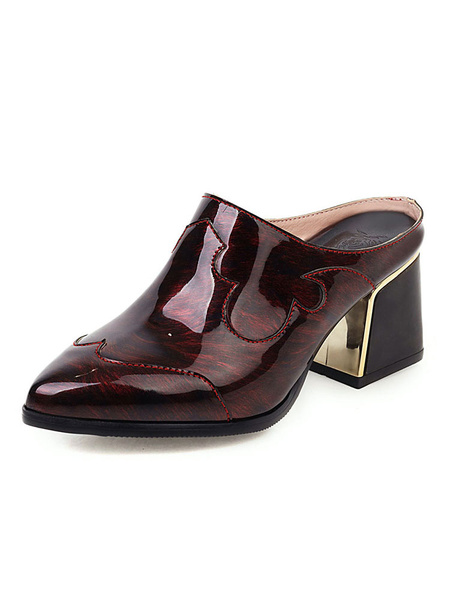 Milanoo Womens Balck Pointed Toe Mules Shoes ColorBlock Heel Shoes