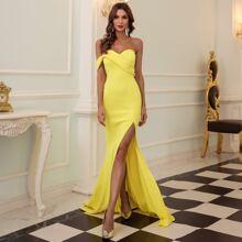 One Shoulder Split Thigh Prom Dress