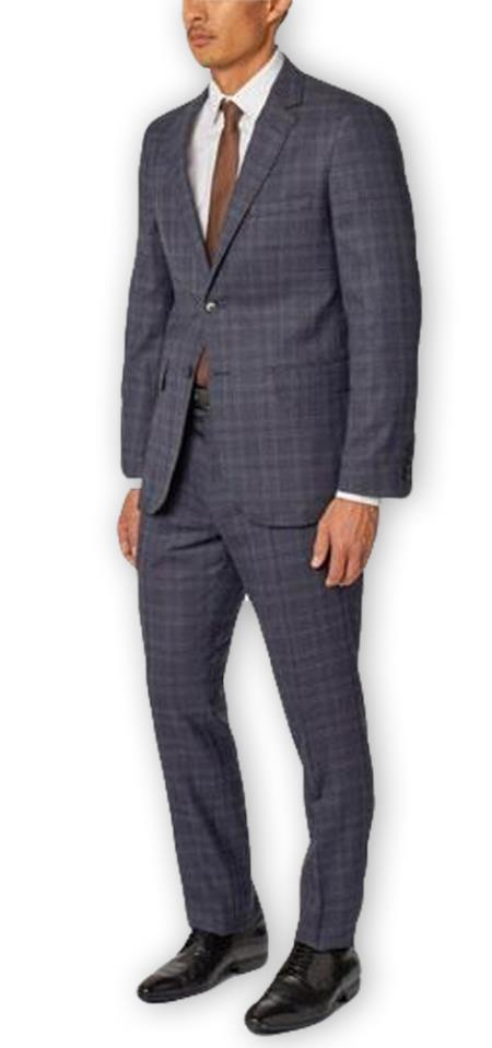 Men's Blue Plaid  Notch Lapel Classic Wool Double Vent Two Piece Suit
