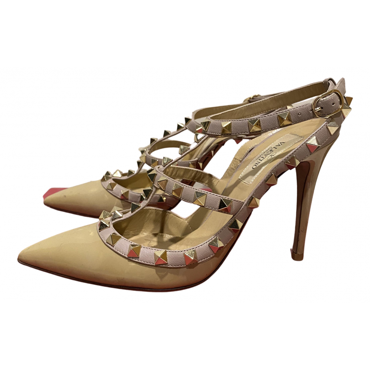 Valentino Garavani - Sandales   pour femme en cuir verni - beige