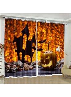 3D Halloween Decor Evil Pumpkin Lantern Printed 2 Panels Living Room Window Curtain