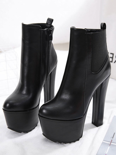 Milanoo Women Ankle Boots Black Round Toe Platform 6.3 Booties