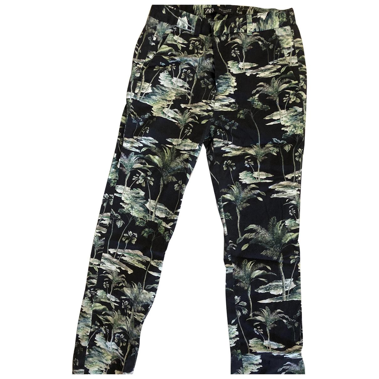 Zara \N Black Cotton Trousers for Women 34 FR