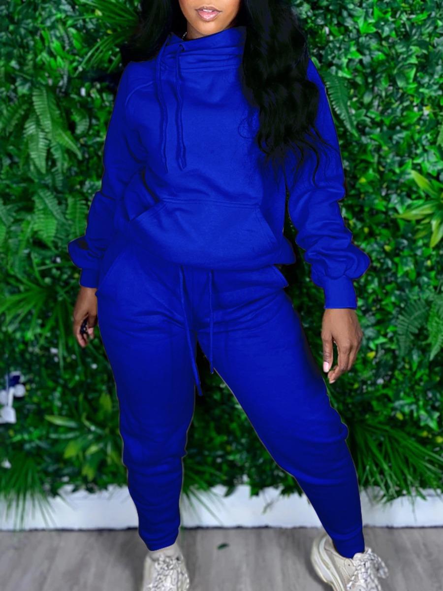 LW lovely Sportswear Hooded Collar Basic Blue Two Piece Pants Set