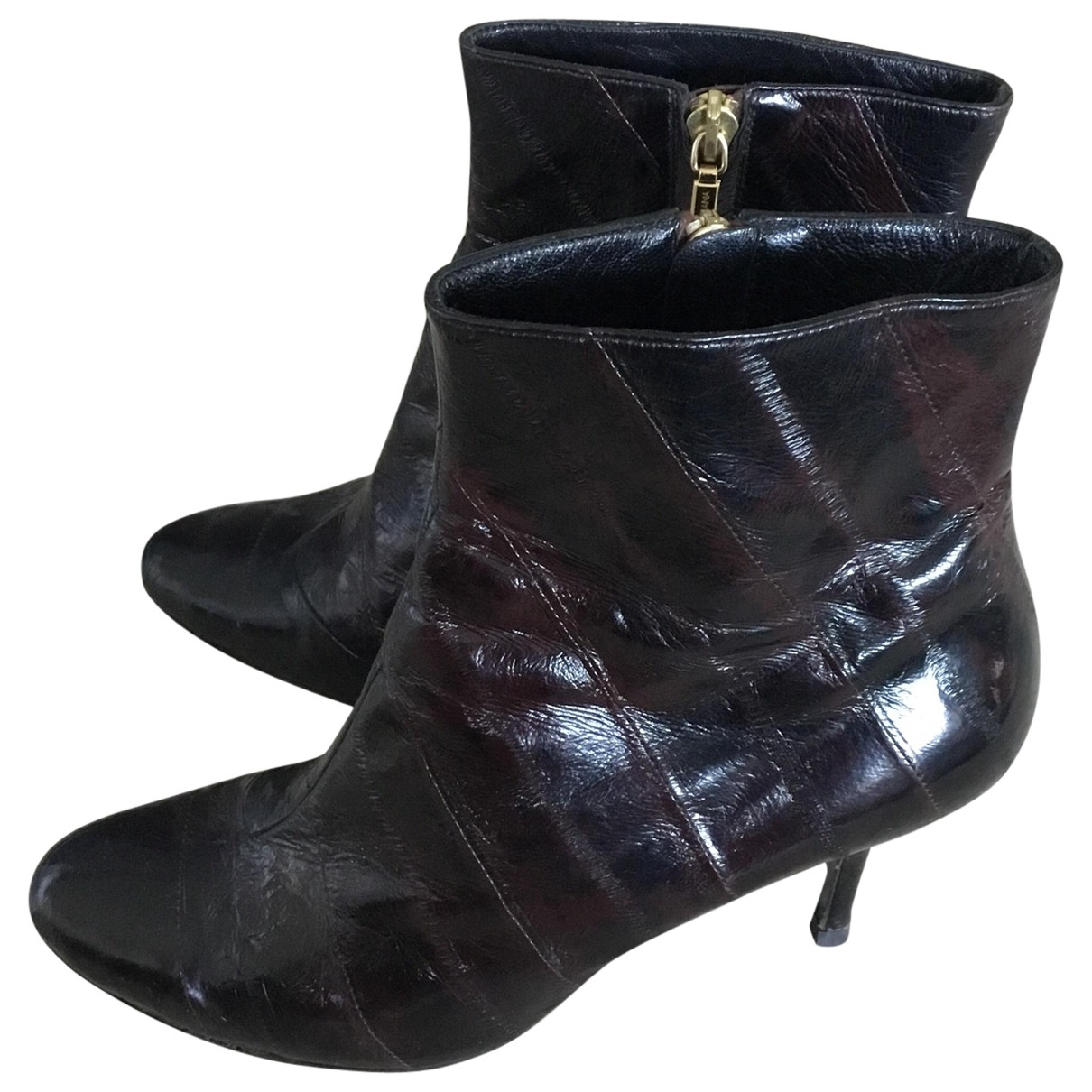 Dolce & Gabbana \N Burgundy Patent leather Ankle boots for Women 39 EU