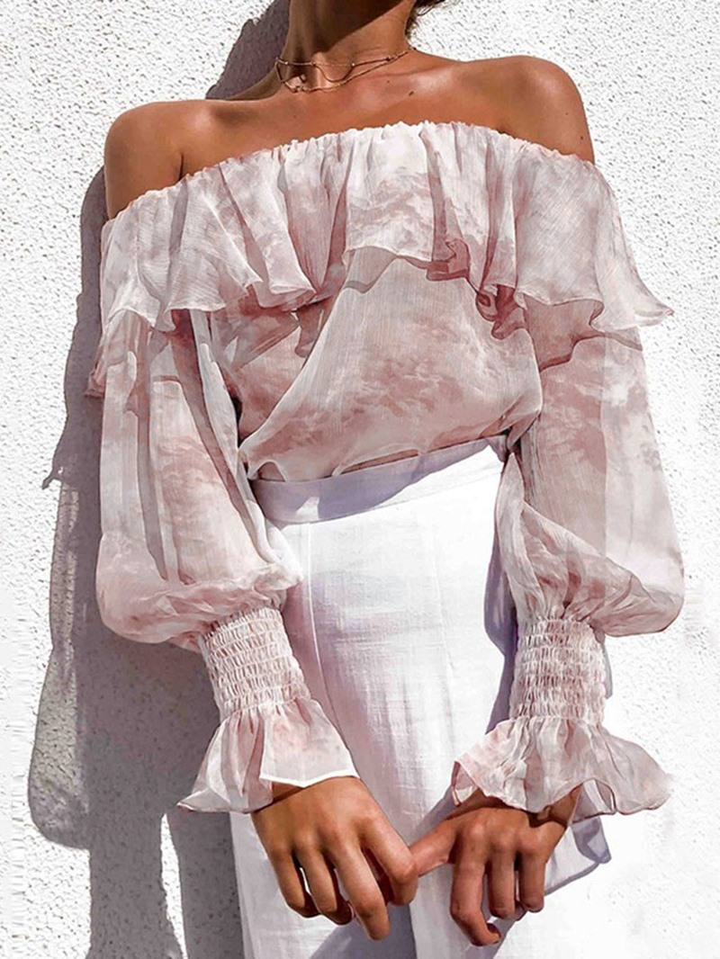 Ericdress Print Off Shoulder Long Sleeve Blouse