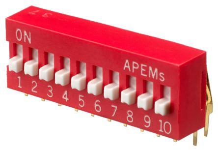 APEM 10 Way Through Hole DIP Switch SPST, Raised Actuator (17)