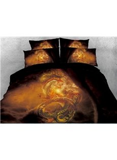 Golden Powerful Dragon Black Printed 4-Piece 3D Bedding Sets/Duvet Covers
