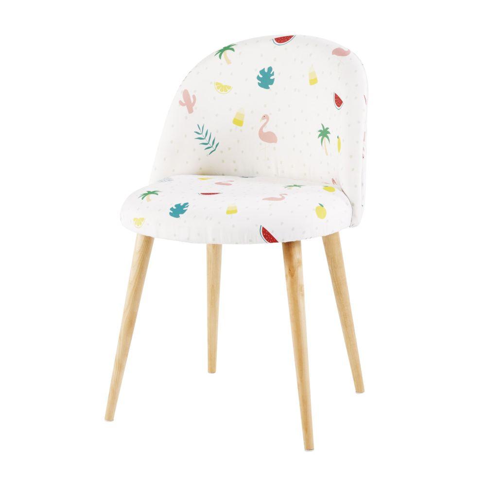 Weisser Stuhl im Vintage-Stil bedruckt mit tropischem Motiv und Massivbirke Mauricette