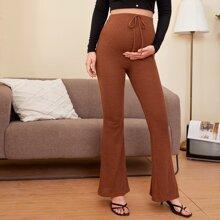 Maternity Knot Waist Rib-knit Flare Leg Pants