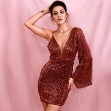 Plunging Neck Sequin Bodycon Dress