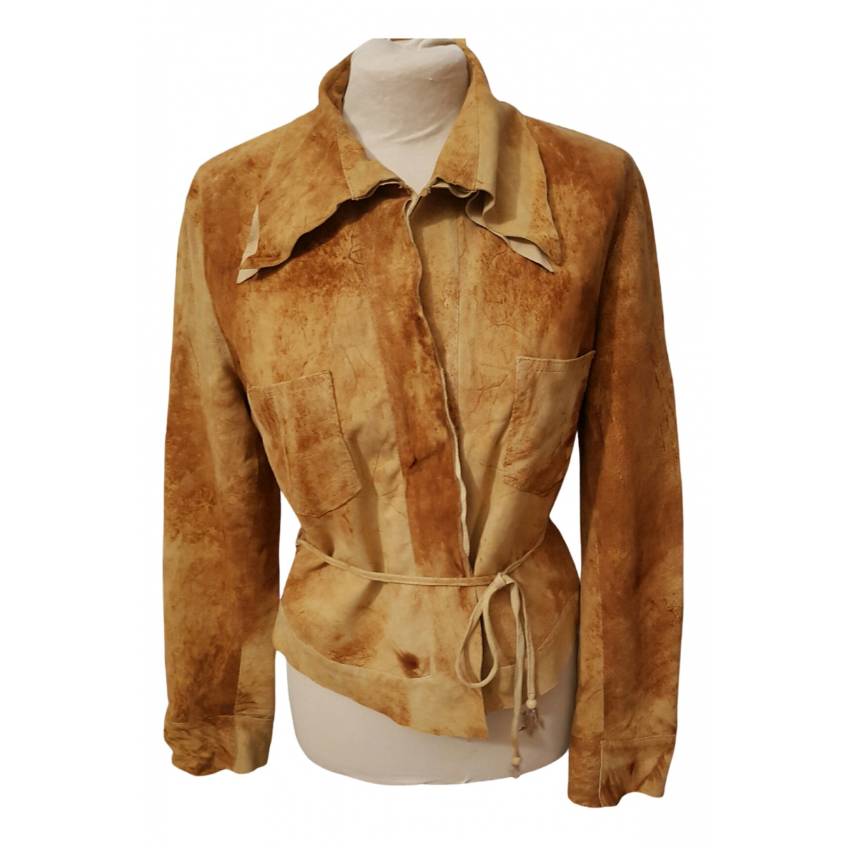 Non Signé / Unsigned \N Beige Leather jacket for Women 46 IT