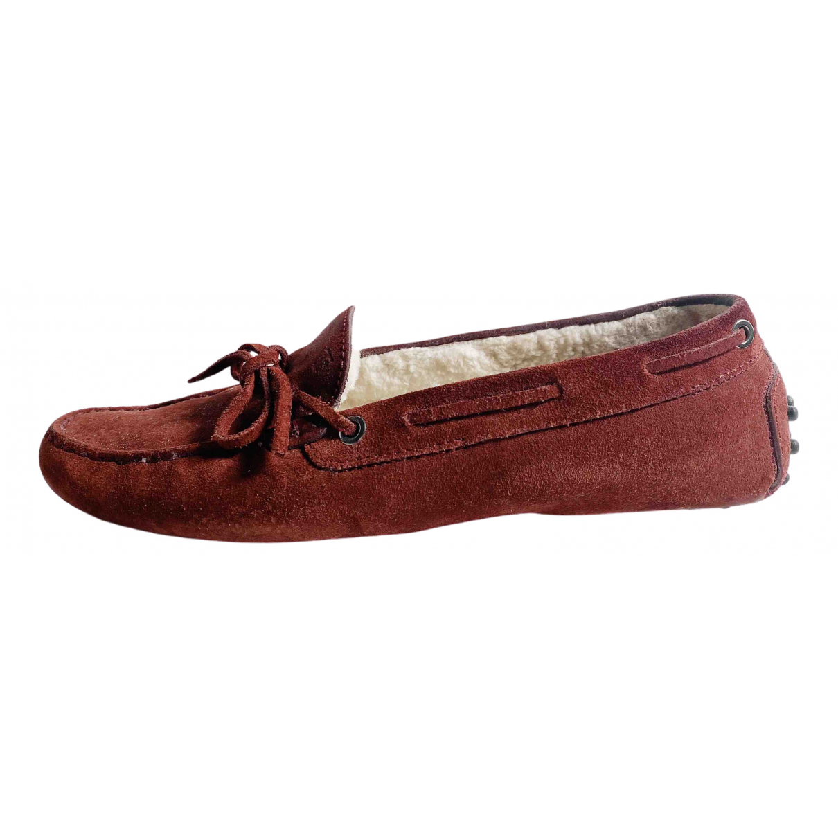Tod's Gommino Burgundy Suede Flats for Women 39.5 EU