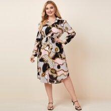 Hemdkleid mit Kette Muster, gebogenem Saum und Guertel