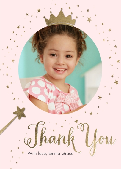 Kids Thank You Cards 5x7 Folded Cards, Premium Cardstock 120lb, Card & Stationery -Thank You Princess Gold Sparkle