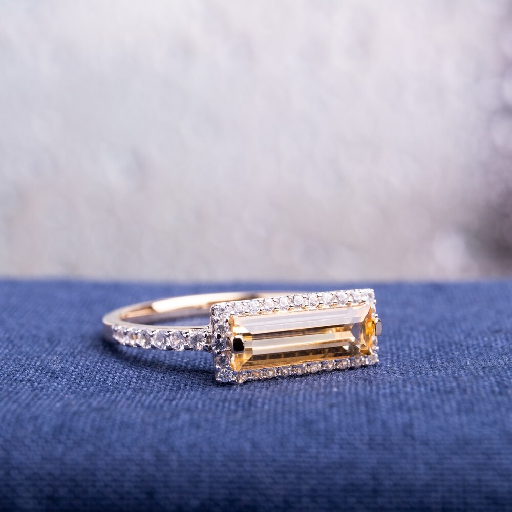 Miadora Yellow Gold Plated Sterling Silver Baguette Citrine and White Sapphire Halo Bar Ring (7.5)