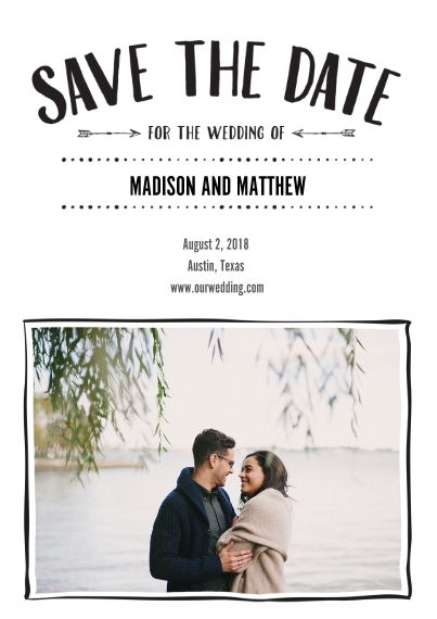 Save the Date 5x7 Cards, Premium Cardstock 120lb with Elegant Corners, Card & Stationery -Arrow Save The Date