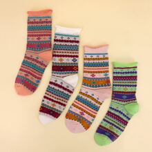 4pairs Striped Pattern Socks