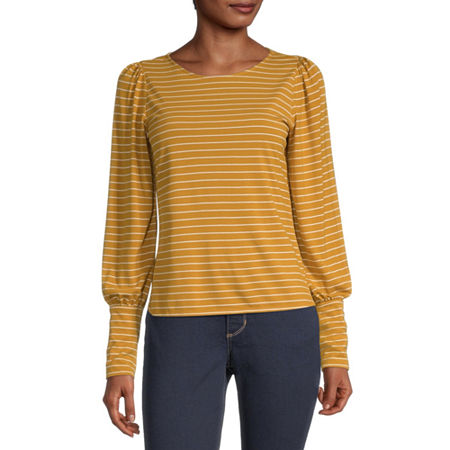 a.n.a-Womens Round Neck Long Sleeve T-Shirt, X-small , Yellow
