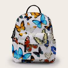 Butterfly Pattern Pocket Front Backpack