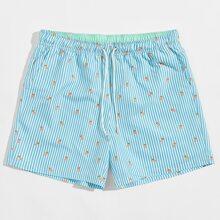 Shorts de rayas con dibujos animados de cintura con cordon