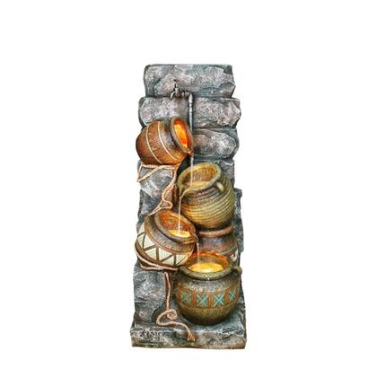 BM95363 Polyresin Frame Fountain with Leveled Pot Pitchers  Gray and