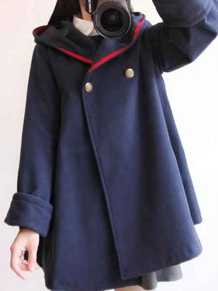 Milanoo Classic Lolita Coats Dark Navy Grommets Synthetic Overcoat Winter Lolita Outwears