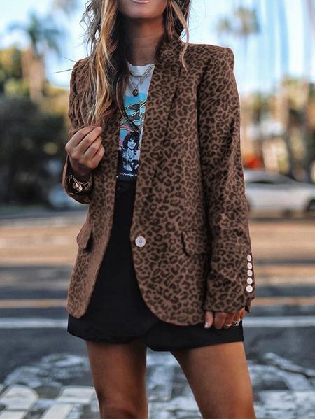 Yoins Brown Leopard Pattern Button Design Shawl Collar Blazer