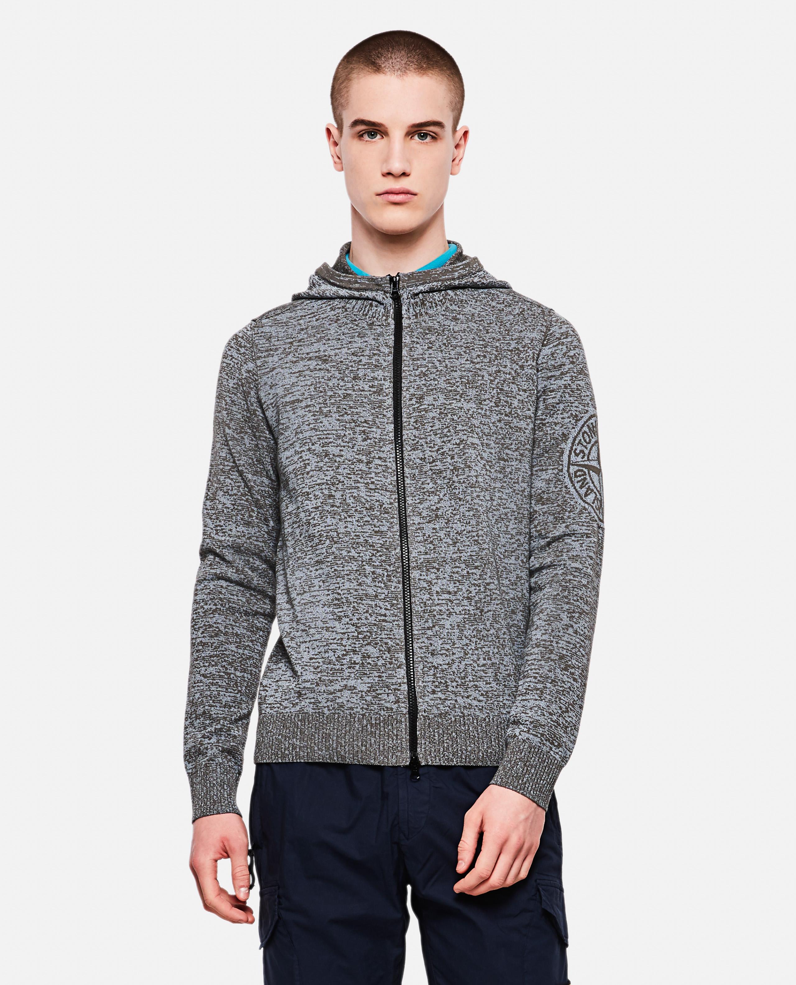 Cotton-linen-nylon mix hooded cardigan