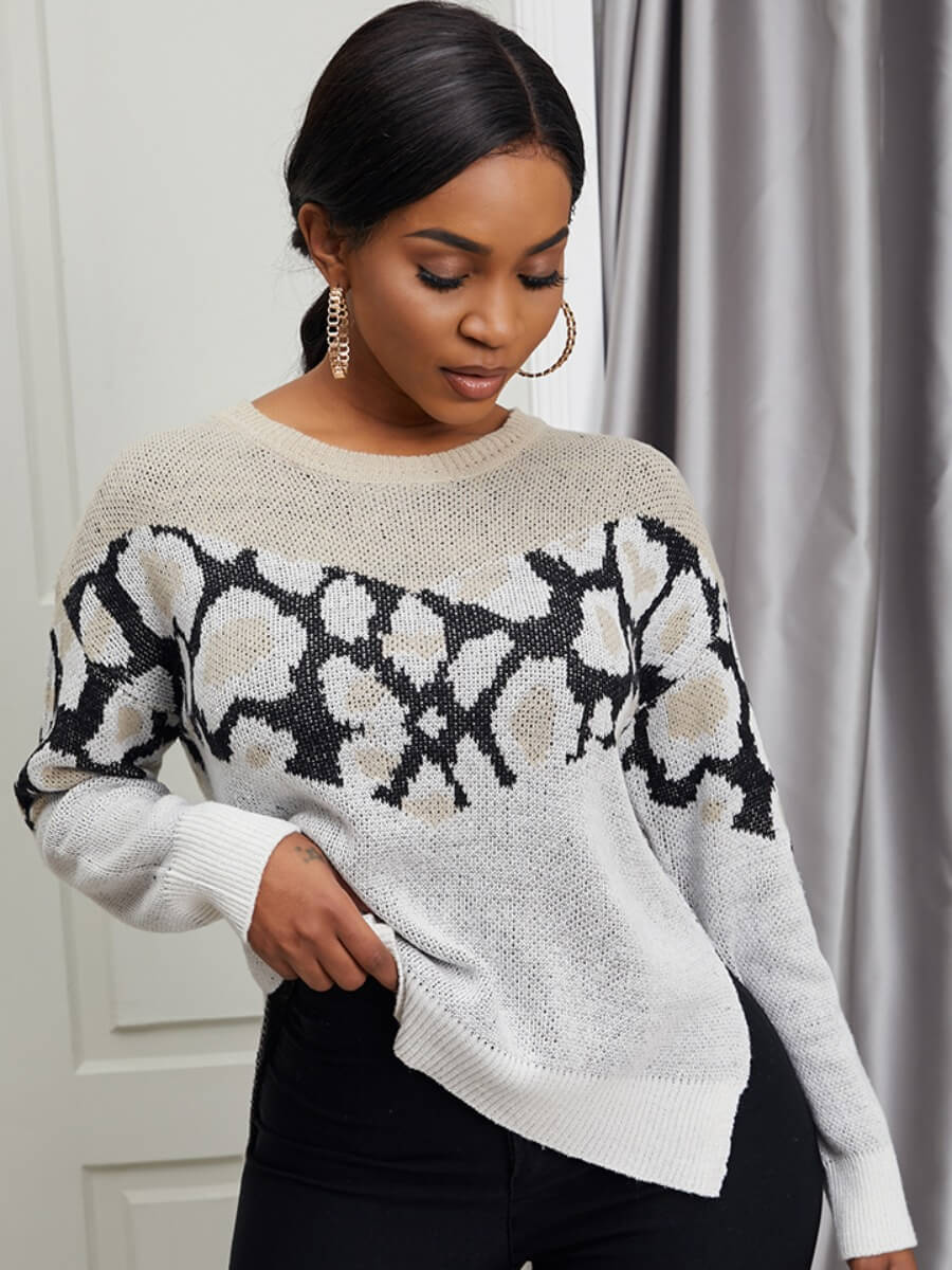 LW Lovely Street O Neck Print Patchwork Apricot Sweater