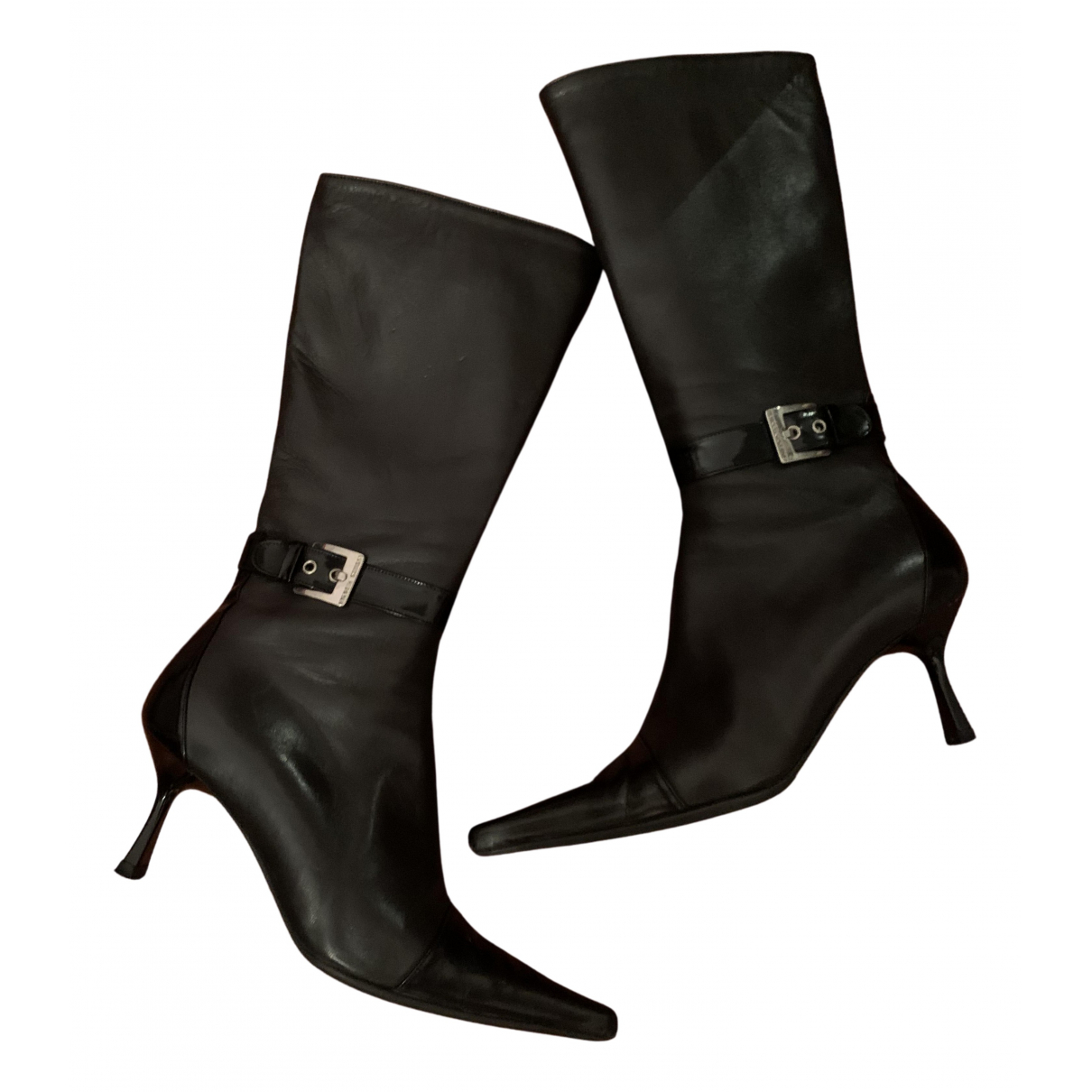 Luciano Padovan N Black Leather Boots for Women 37 IT