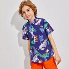 Hemd mit Taschen vorn und Blatt Muster