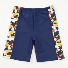 Boys Camo & Letter Graphic Swimsuit