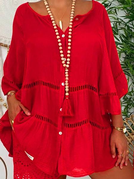 Milanoo Linen Shirt Oversized Jewel Neck Sleeved Casual Tops
