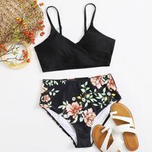 Bañador bikini de cintura alta floral