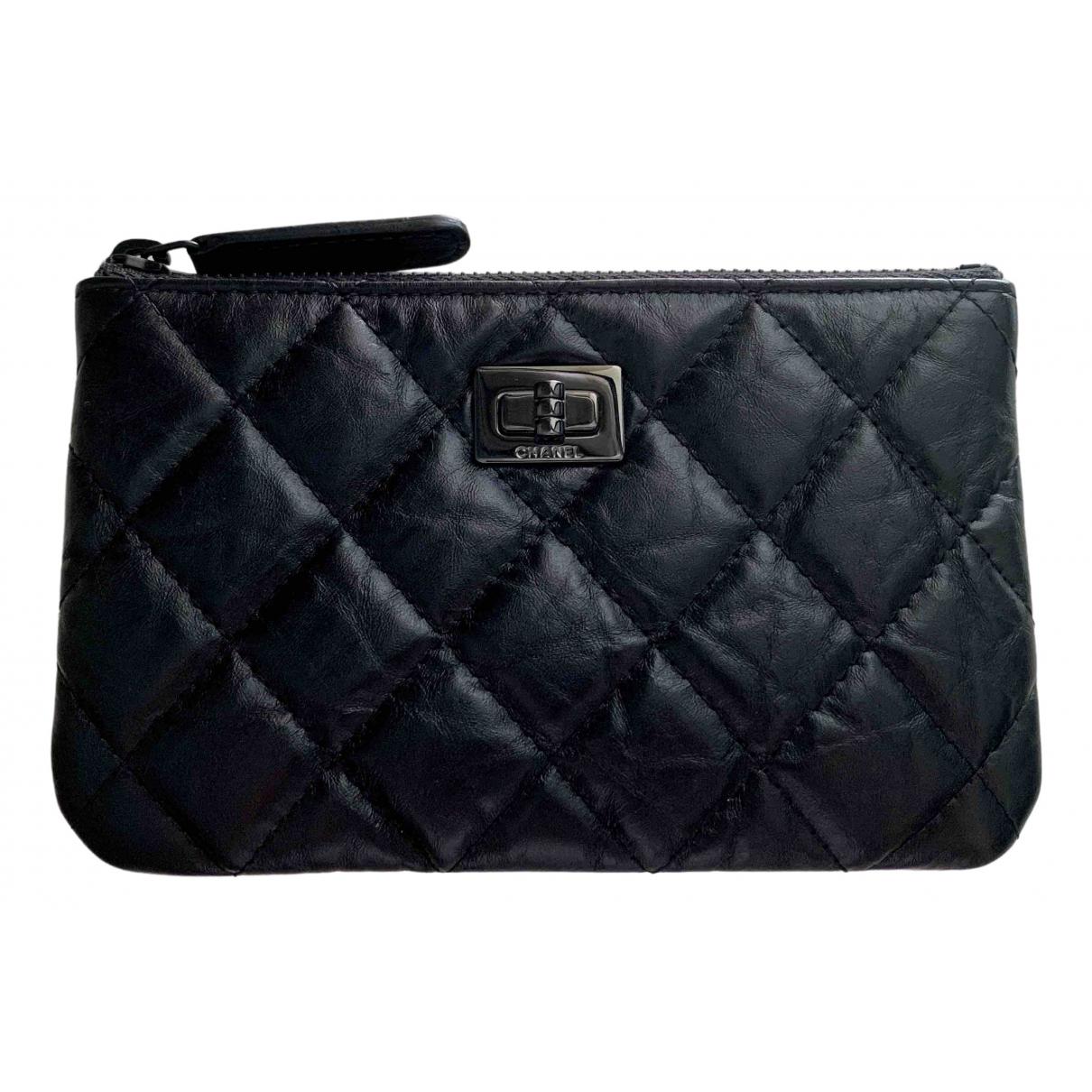 Chanel - Petite maroquinerie 2.55 pour femme en cuir - noir