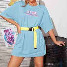 Drop Shoulder Chinese Slogan Graphic Tee Without Belt