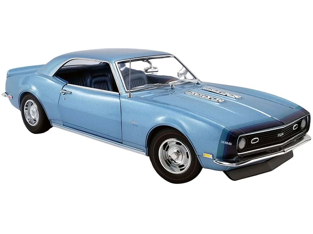 1968 Chevrolet Camaro SS Unicorn Grotto Blue Metallic with Blue Interior and D88 Stripes Limited Edition to 438 pieces Worldwide 1/18 Diecast Model C