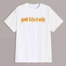 T-Shirt mit Buchstaben Grafik und Rundhalsausschnitt