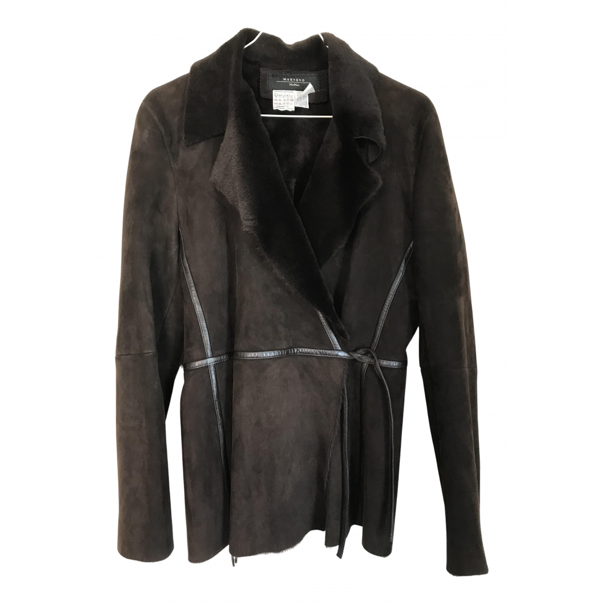 Max Mara Weekend N Brown Leather jacket for Women 42 IT