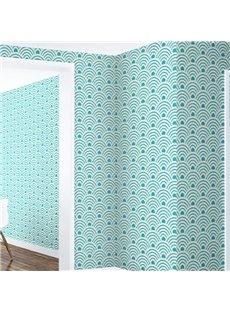 3D Green Curves Printed PVC Sturdy Waterproof Eco-friendly Self-Adhesive Wall Mural