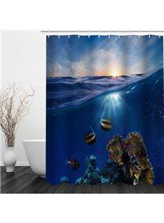 Beautiful Word Under Sea 3D Printed Bathroom Waterproof Shower Curtain