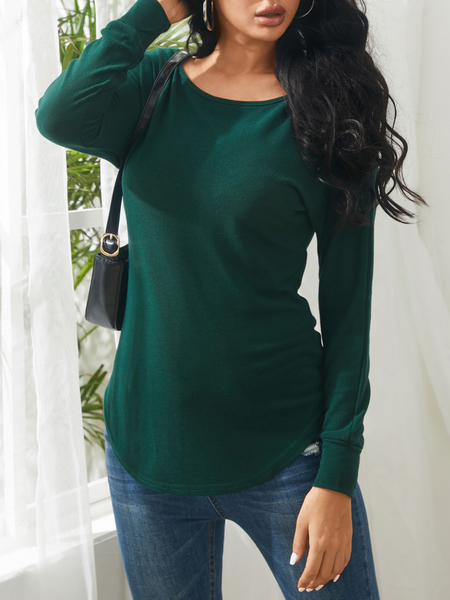 Yoins Green One Shoulder Long Sleeves Knitted Top