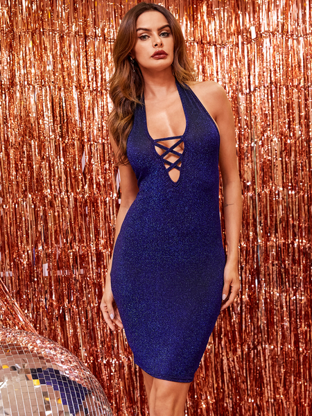 YOINS Glitter Blue Backless Design Criss-cross Halter Sleeveless Dress