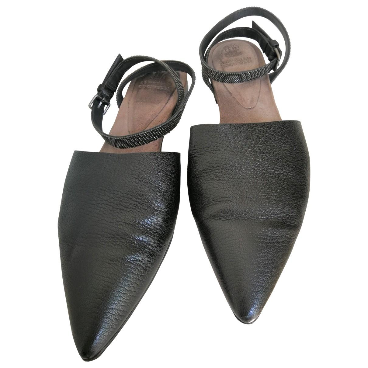 Brunello Cucinelli \N Sandalen in  Schwarz Leder