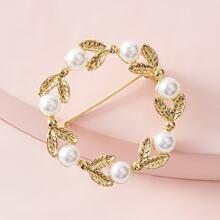 Broche en forma de hoja con diseño de perla 1 pieza