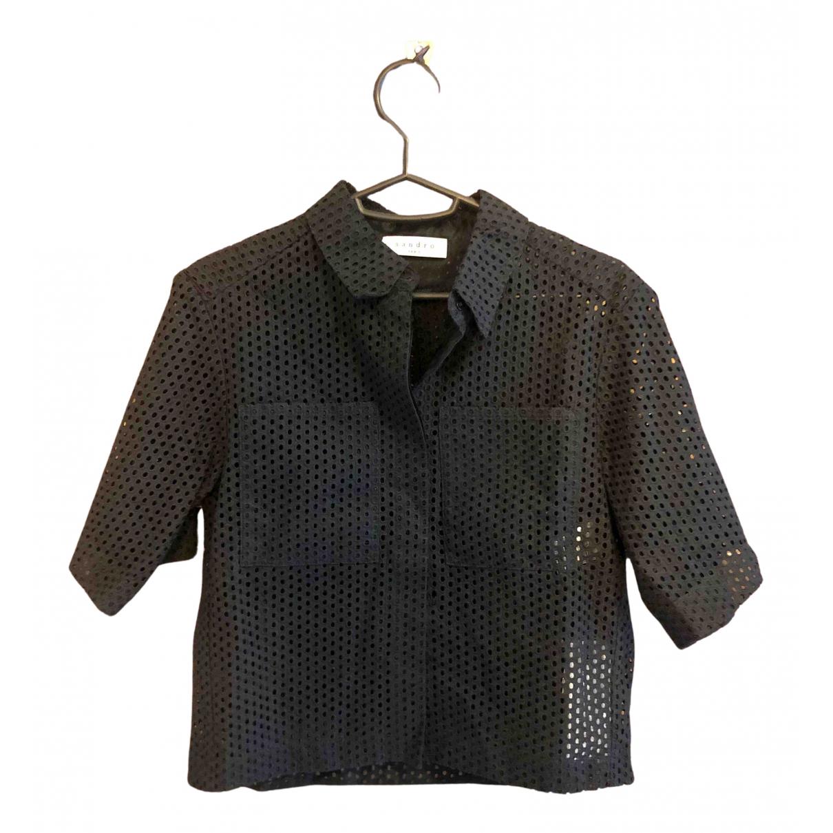 Sandro - Top Spring Summer 2020 pour femme en coton - noir
